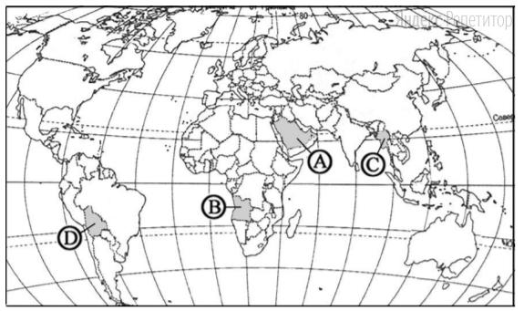 Какой буквой на политической карте мира обозначено государство Ангола?