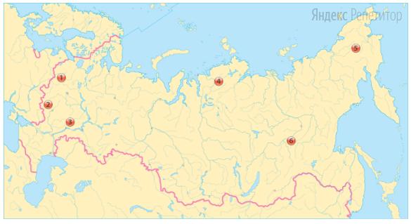 Выберите из обозначенных на карте России три субъекта федерации с наименьшей плотностью населения.