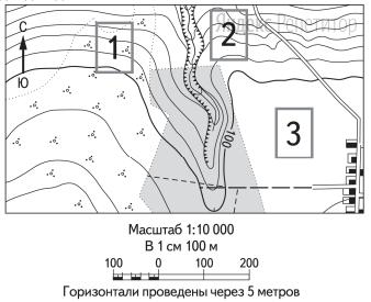 Определите, в пределах какого из участков, обозначенных на фрагменте топографической карты цифрами ... и ... существует наибольшая опасность развития водной эрозии почвенного слоя.