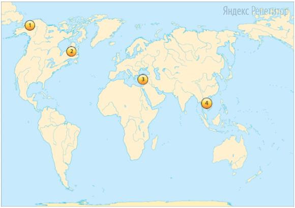 Установите соответствие между полуостровом (обозначено буквами) и его обозначением на карте (обозначено цифрами).