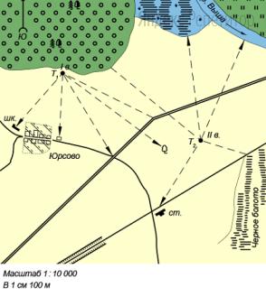 Определите расстояние на местности по прямой от точки T1 до широколиственного дерева.