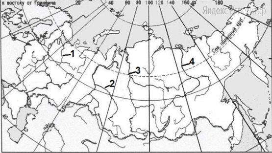 Установите  соответствие между  цифрой  на  карте  России  и  названием  реки.