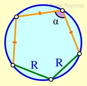 В окружность вписали пятиугольник, две соседние стороны которого равны радиусу окружности, а три другие — равны между собой. Найдите отмеченный на рисунке угол пятиугольника. Ответ дайте в градусах.