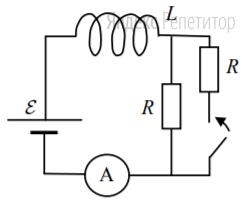 Катушка, обладающая индуктивностью ... соединена с источником питания с ЭДС ... и двумя одинаковыми резисторами ... Электрическая схема соединения показана на рис. ... В начальный момент ключ в цепи разомкнут.