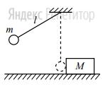 Маленький шарик массой ... кг подвешен на лёгкой нерастяжимой нити длиной ... м, которая разрывается при силе натяжения ... Н. Шарик отведён от положения равновесия (оно показано на рисунке пунктиром) и отпущен. Когда шарик проходит положение равновесия, нить обрывается, и шарик тут же абсолютно неупруго сталкивается с бруском массой ... кг, лежащим неподвижно на гладкой горизонтальной поверхности стола.