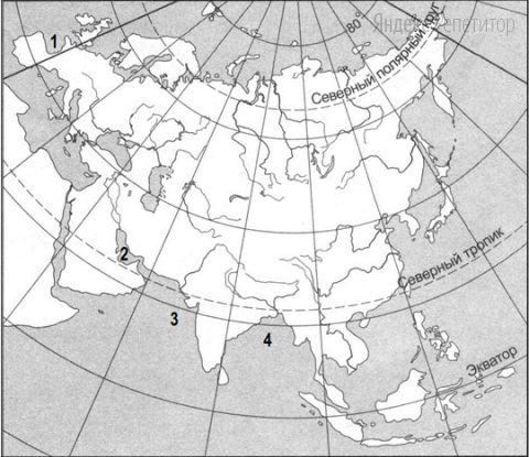 Установите соответствие между названием залива и цифрой на карте Евразии.