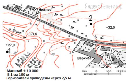 Определите по карте азимут от школы в селе Верхнее до точки 2, если эта точка расположена на 40° западнее направления на север.