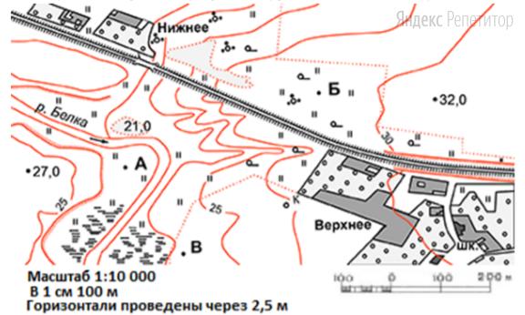 Определите по карте расстояние на местности по прямой точки ... до школы в селе Верхнем.