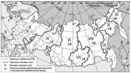 В соответствии с Законом о возврате к «зимнему» времени с 26 октября 2014 г. на территории страны установлено 11 часовых зон (см. карту). Исходным при исчислении местного времени часовых зон служит московское время – время II часовой зоны.