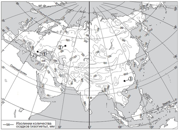 С помощью карты сравните значения среднегодового количества осадков в точках, обозначенных на карте цифрами ..., ..., ....