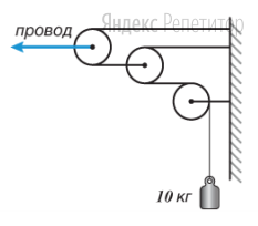 На железной дороге для натяжения проводов используется показанная на рисунке система, состоящая из легких блоков и тросов, натягиваемых тяжелым грузом