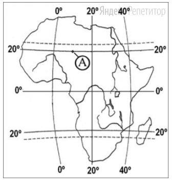 Какие географические координаты имеет точка, обозначенная на карте Африки буквой A?