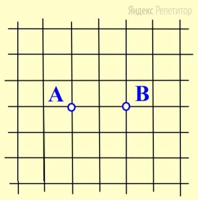На клетчатой бумаге даны две точки ... и .... Отметьте на ней все точки ... в узлах сетки так, чтобы в треугольнике ... сторона ... была самой длинной. Сколько всего таких точек?