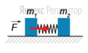 Два бруска массами ... кг и ... кг соединены пружиной (см. рисунок). На левый брусок действует сила, равная ... Н.