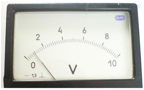 На рисунке показана часть шкалы вольтметра.