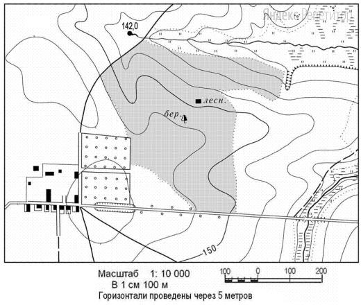 Определите по карте расстояние на местности по прямой от родника на высоте 142,0 до дома лесника.