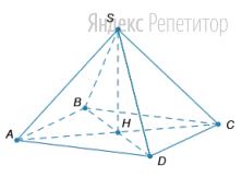 Найдите объём правильной четырёхугольной пирамиды, если диагонали основания равны ... см, а высота пирамиды равна ... см.