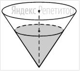 В сосуде, имеющем форму конуса, уровень жидкости достигает ... высоты.