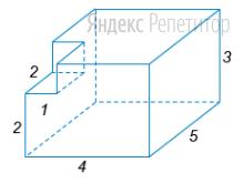 Найдите объем многогранника, изображенного на рисунке (все двугранные углы прямые).