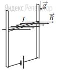 В однородном магнитном поле по вертикальным направляющим без трения скользит прямой горизонтальный проводник массой ... кг, по которому течёт ток ... А. Вектор магнитной индукции направлен горизонтально перпендикулярно проводнику (см. рисунок), ... Тл.