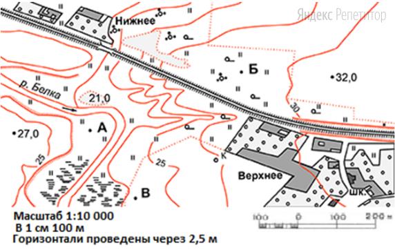 Определите по карте азимут, по которому надо идти от колодца до точки ... отклоняясь на ... южнее от направления на запад.