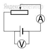 Как изменятся показания амперметра и вольтметра в схеме, изображенной на рисунке, если движок реостата переместить влево?