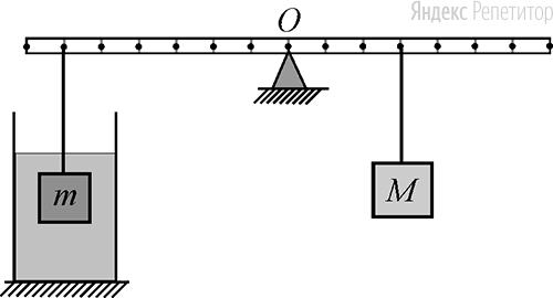 На невесомой рейке, способной вращаться вокруг горизонтальной оси, проходящей через точку ..., уравновешены два груза массами ... и ... из одинакового материала (см. рисунок). Груз массой ... погружён в жидкость, и .... Определите отношение плотности тел к плотности жидкости.