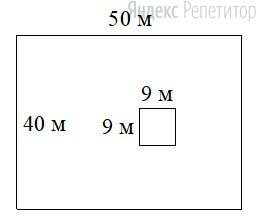 Дачный участок имеет форму прямоугольника, стороны которого равны ... м и ... м. Дом, расположенный на участке, имеет на плане форму квадрата со стороной ... м.