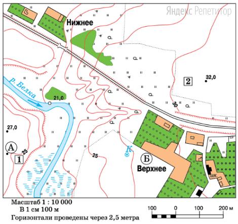 Определите по карте расстояние на местности по прямой от точки  А до точки Б.