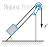 Небольшой брусок массой ...кг, находящийся на наклонной плоскости, удерживается нитью, перекинутой через блок. Угол у основания наклонной плоскости — ... коэффициент трения между бруском и плоскостью — ...