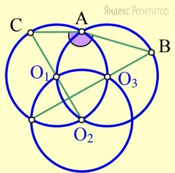 Три окружности проходят через центры ..., ... и ... друг друга. Первая и третья окружности второй раз пересекаются в точке .... Продолжение общей хорды первых двух окружностей пересекает третью в точке ..., а линия их центров ... второй раз пересекает первую окружность в точке .... Найдите угол .... Ответ дайте в градусах.