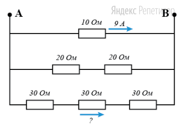 Схема из шести резисторов подключена к источнику постоянного напряжения. Сила тока через верхний резистор (... Ом) равна ... А.