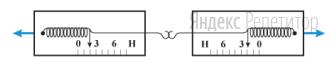 Два скрепленных друг с другом динамометра растягивают в противоположные стороны так, как показано на рисунке.