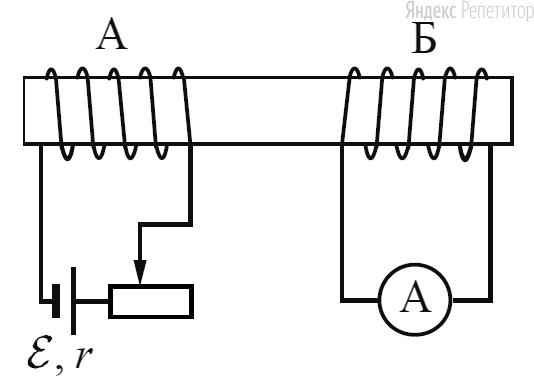На железном стержне намотаны две катушки изолированного медного провода ... и .... Катушка ... подключена к источнику с ЭДС ... и внутренним сопротивлением ..., как показано на рисунке.