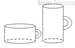 Даны две кружки цилиндрической формы. Первая кружка в полтора раза ниже второй, а вторая втрое у́же первой.