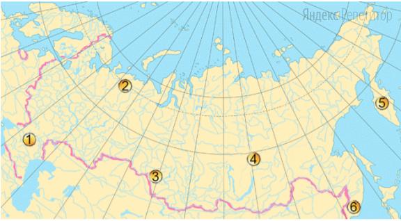 Какие три из обозначенных на карте территорий расположены в наименее густонаселенных частях России?