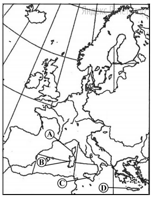 Какой буквой обозначен на карте Европы остров Сицилия?