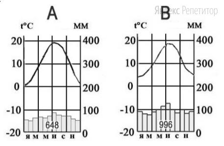 На рисунке приведены климатограммы, составленные для пунктов A и B, расположенных в Европе примерно на одинаковой широте и высоте над уровнем моря.