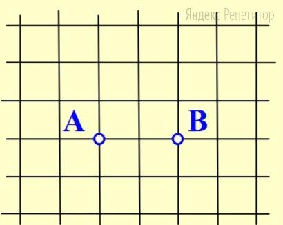 Расстояние между точками ... и ... на клетчатой бумаге равно .... Сколько существует узлов этой бумаги, расстояние от которых до точки ... меньше 2, а до точки ... — больше ...?