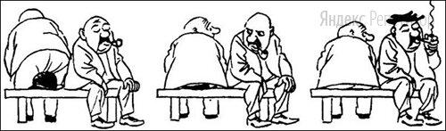 На рисунках датского карикатуриста Х. Бидструпа изображена реакция человека, которому на шляпу сел случайный прохожий. Определите по внешней реакции человека тип его темперамента.