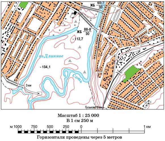 Определите по карте расстояние на местности по прямой от моста через озеро Длинное до южного моста через речку Соть.