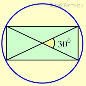 В окружность радиуса ... вписали прямоугольник, угол между диагоналями которого равен .... Найдите площадь этого прямоугольника.