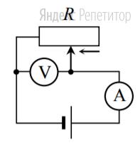 На рис. 1 приведена схема установки, с помощью которой исследовалась зависимость напряжения на реостате от величины протекающего тока при движении ползунка реостата справа налево.