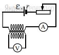 На рисунке приведена электрическая цепь, состоящая из гальванического элемента, реостата, трансформатора, амперметра и вольтметра. В начальный момент времени ползунок реостата установлен посередине и неподвижен.
