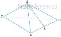 В правильной треугольной пирамиде ... с вершиной ... медиана ... треугольника ... равна ... Площадь всей боковой поверхности равна ...