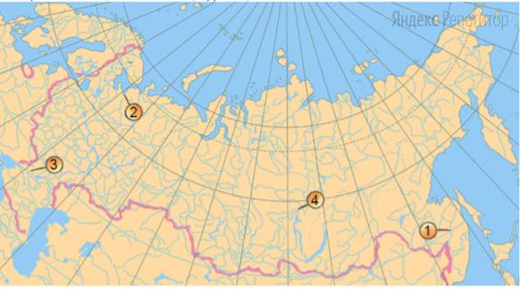 Установите соответствие между рекой (обозначено буквами) и ее обозначением на карте России (обозначено цифрами).
