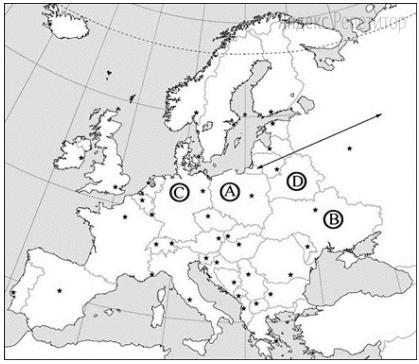 Какой буквой на карте обозначена территория Германии?
