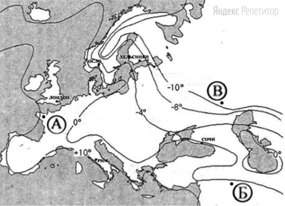 С помощью приведенной ниже карты сравните средние температуры января в точках, обозначенных на карте буквами А, Б, В.