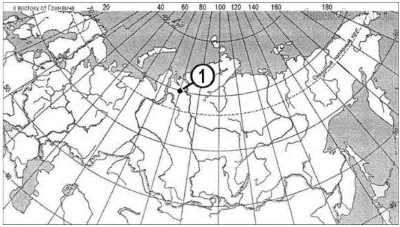 Какие географические координаты имеет точка, обозначенная на карте цифрой ...