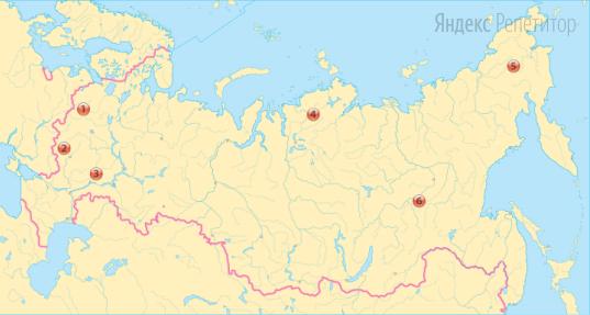 Выберите из обозначенных на карте России три административные единицы с наибольшей плотностью населения.